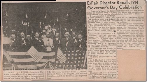 Governors Day 1914 Fresno Bee 10_1_1953