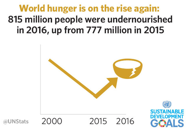 The UN Sustainable Development Goals Report 2018 shows that for the first time in more than a decade, the number of people who are not getting enough to eat is trending upward, and there are now approximately 38 million more hungry people in the world: rising from 777 million in 2015, to 815 million a year later. Graphic: United Nations
