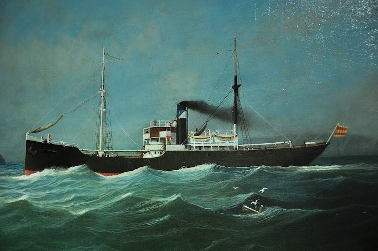 Oleo sobre tela del vapor JERONIMO IBRAN. Museo Maritimo de Asturias. Foto cedida por Jorge Montoro. Nuestro agradecimiento.JPG