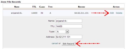 Mengedit Record DNS