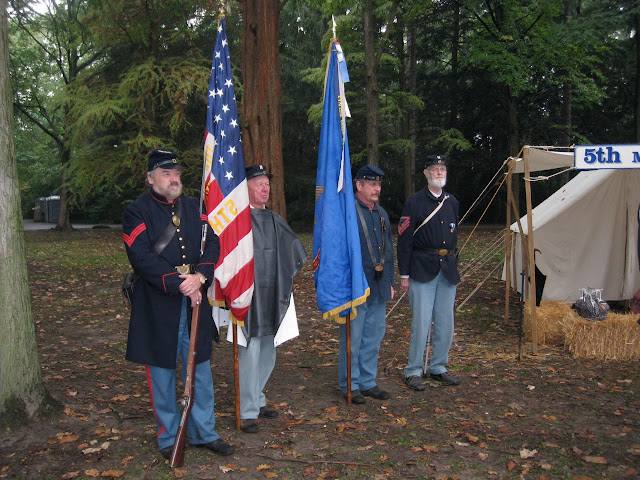 5th MI Regimental Band's Color Guard at attention