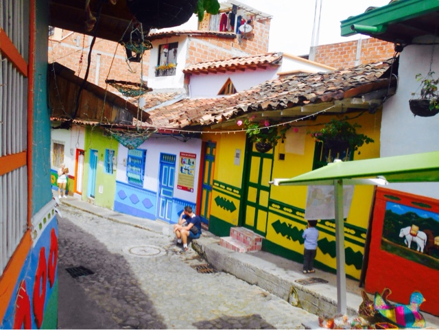 Guatape colourful streets