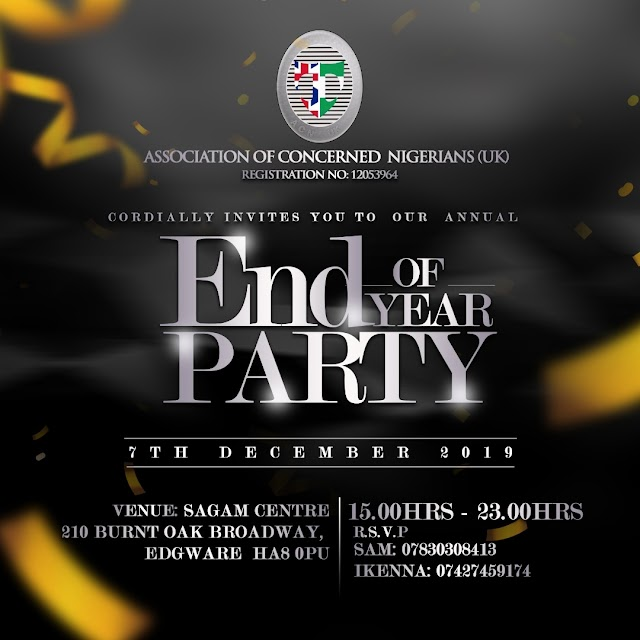 Association Of Concerned Nigerians, United Kingdom, To Stage Classy End Of The Year Party