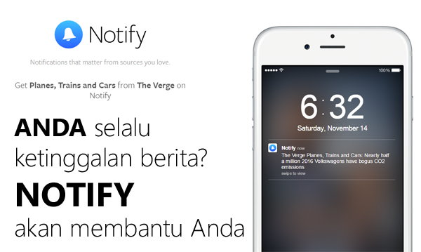 Notify, Aplikasi Pemberitahuan Update Berita Buatan Facebook