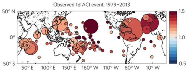 Estimated observed magnitude of a local 1σ positive (dry) aridity change index (ACI) event, defined as 1+ the local temporal standard deviation of ACI (annually smoothed). Precipitation data are from the Global Precipitation Climatology Project (GPCP). Graphic: Karnauskas, et al., 2016 / Nature Climate Change