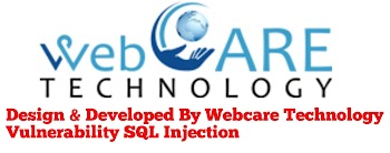 Design & Developed By Webcare Technology Vulnerability SQL Injection