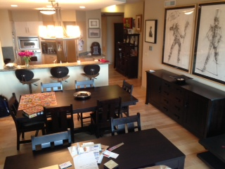 Turin Dining Table, Seneca Dining Chairs, Kyoto Buffet/Credenza, all in Onyx Maple
