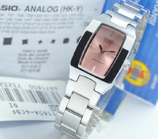 jam tangan Casio LTP-1165A-4CDF Silver chain pink Original