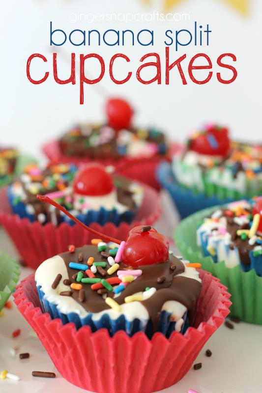 banana split cupcakes at GingerSnapCrafts.com #dessert #recipes