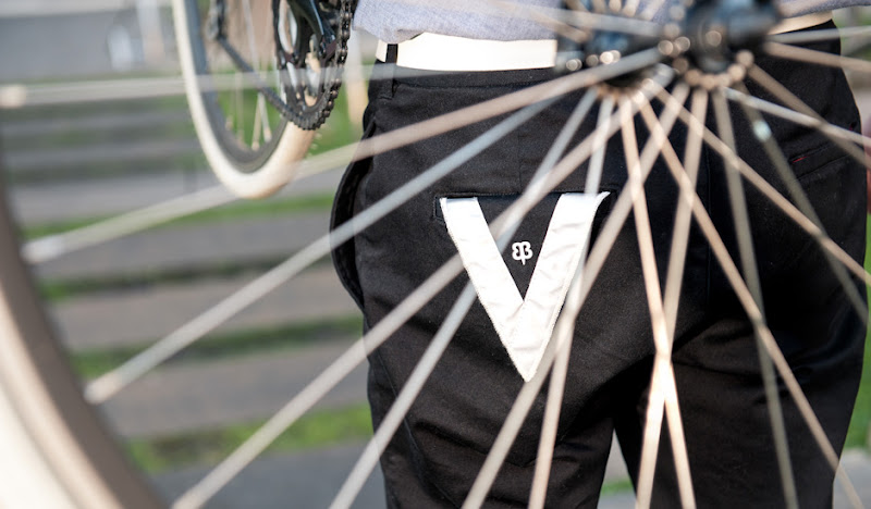 Black BTW V-Flap through bike spokes