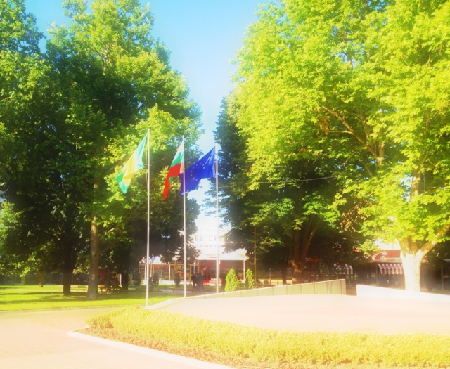 Picture of the flags of Dobrich, Bulgaria and the European Union in the park. The photo is taken in Dobrich Bulgaria, June 2013.