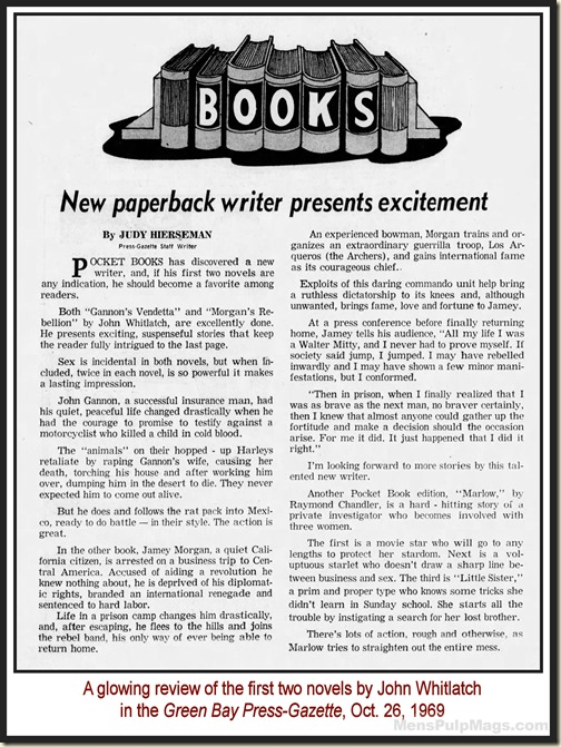 John Whitlatch Review, Green Bay Press Gazette 1969 MPM