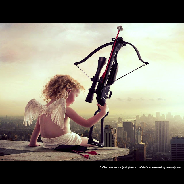 Cupid sitting on a roof - artist unknown - original picture modified and enhanced by @domelgabor