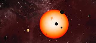Ilustración artística del sistema conocido como Kepler 11, uno de los tantos sistemas múltiples descubiertos por el telescopio Kepler