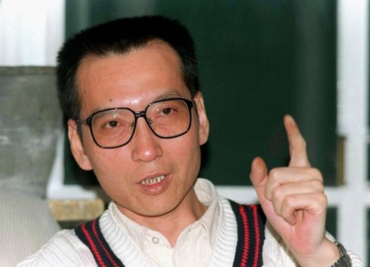 Veteran Chinese pro-democracy activist Liu Xiaobo makes a point during a March 1995 file photo. Liu, one of China's best known dissidents, has been formally arrested on suspicion of inciting subversion, following his detention late last year for promoting a petition calling for an end to one-party rule.  REUTERS/Will Burgess/Files (CHINA POLITICS IMAGES OF THE DAY) - RTR24YTA
