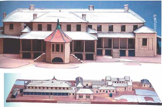 Early Government Houses: the lower view from Macquarie Street shows the first Government House  inhabited by Collins and Davey, the cottage facing Macquarie Street with two later bow windows. To the left is Sorell's second Government House, the two-storey, badly built 110 x 35 ft house with a verandah. The upper view is looking from Sullivan's Cove with Arthur's two storey, five-bay third addition supporting and attached to the back of Government House, with a summer house with its octagonal roof providing access to the verandah. (Courtesy of John Hawkins)
