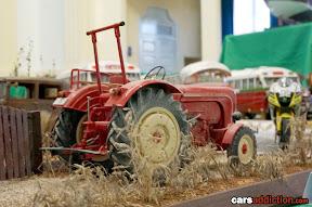 Tractor in field diorama