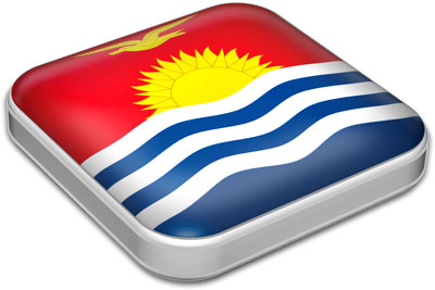 Flag of Kiribati with metallic square frame