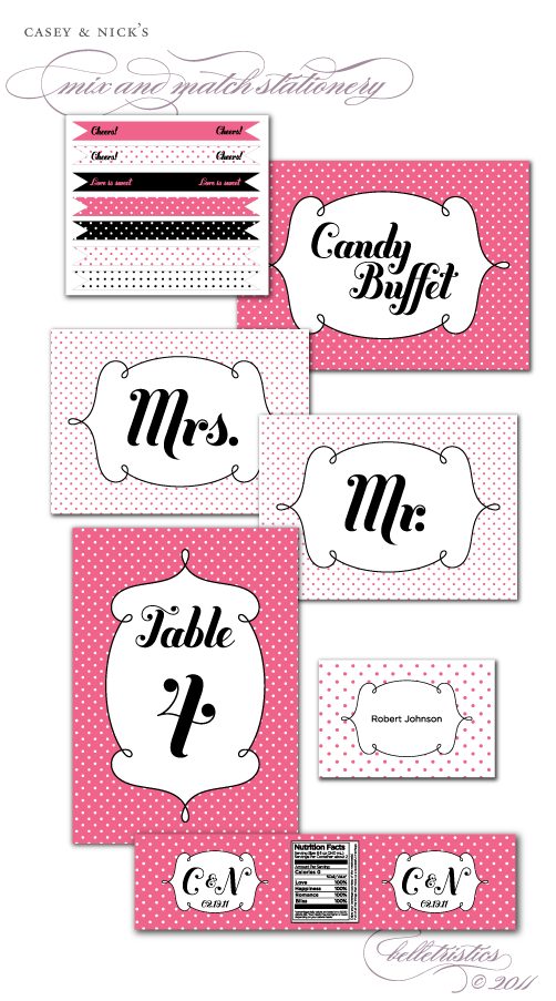 pink black polka dot retro printable diy wedding stationery