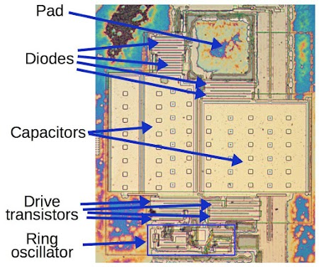 The substrate bias circuit of the 8087. The metal layer has been removed in this die photo.