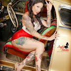 Angela Morales sexy in car - Tattoos for Women