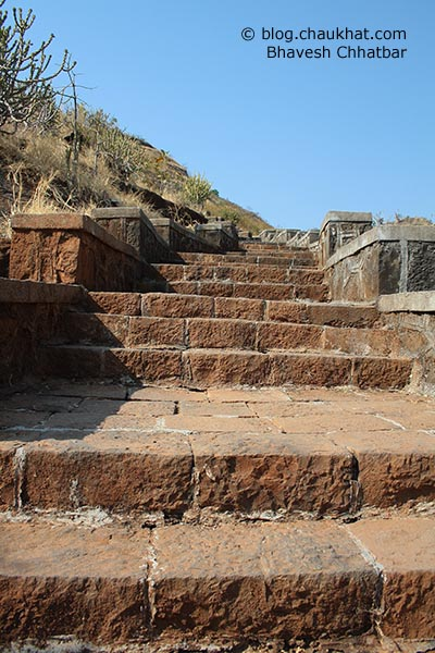 Steps to reach the peaceful Buddhist caves of Bedse