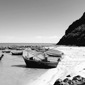 Sam Roi Yot beach  by Stephanie Veronique - Transportation Boats ( sand, mountains, b&w, beach, boat, landscape )
