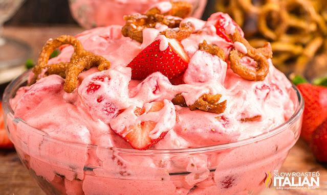 Strawberry Pretzel Cheesecake Salad in a bowl