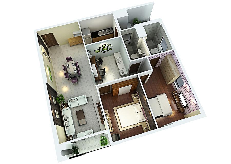 Phối cảnh 3D căn hộ 2 phòng ngủ DT: 96,54m2