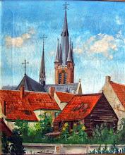 Photo: 1946 Mooi plaatje van achterkant van panden aan de Dreef met o.a. de timmerwerkplaats van Arn. Nooren.. Het is geschilderd door Frans van Gils vanuit de tuin van een pand aan de (Voorstraat) Haagweg