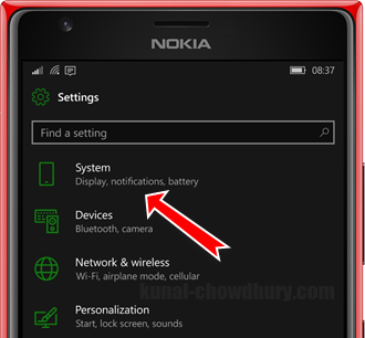 Click on the System settings on Windows 10 Mobile to configure the Quick Actions (www.kunal-chowdhury.com)