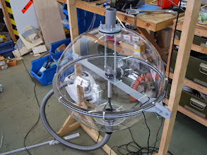 Photo: One finished ball container bubble. Balls will enter and leave at the bottom while air enters and leaves on the top