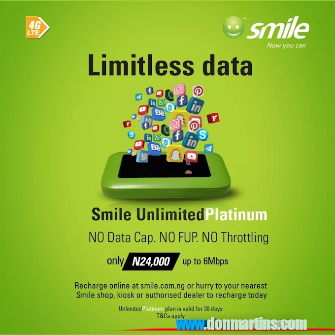 🔰Smile NG Introduces a new plan called platinum, unlimited browsing for 30days.