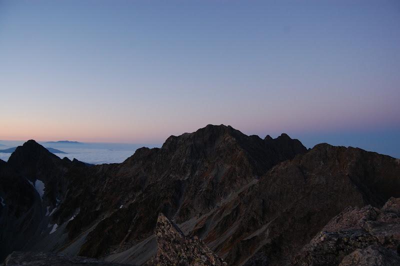 左から涸沢岳、奥穂高岳、前穂高岳