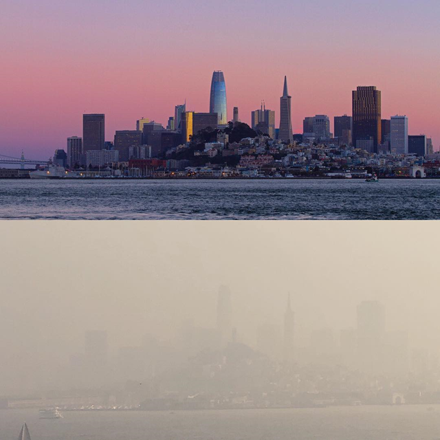 The San Francisco skyline viewed from Alcatraz, during a clear day (top), and during a smoke storm on 16 November 2018 (bottom). Top and Bottom are the same shot taken a week apart. Photo: marcstokes79 / Instagram