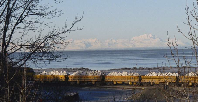 An Alaska Railroad train carries tons of snow in Anchorage, Alaska, on Thursday, March 3, 2016, after traveling 360 miles south from Fairbanks. The snow will be used to help provide a picturesque ground cover on the streets for the ceremonial start of the 1,000-mile Iditarod Trail Sled Dog Race in Anchorage, where persistent above-freezing temperatures have melted much of the local snow. The competitive part of the race kicks off Sunday 50 miles to the north in Willow. Photo: Rachel D'Oro / AP Photo