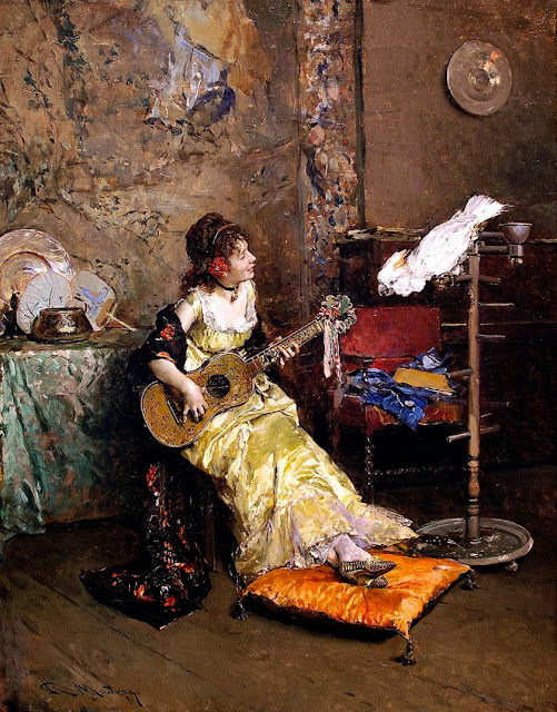 Raimundo Madrazo - Girl With A Guitar and Parrot
