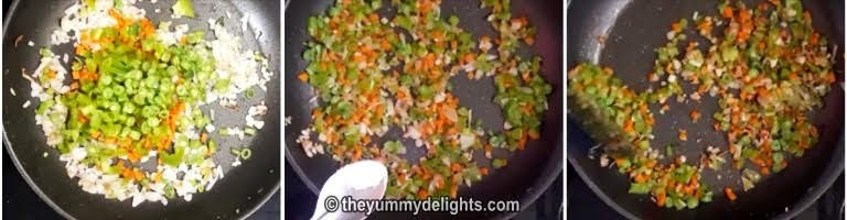 saute the vegetables for making egg fried rice recipe