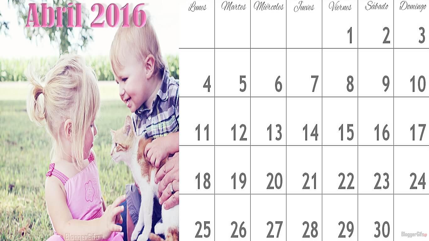 Niños Sonriendo con Gatito Calendario del Mes de Abril 1366x768