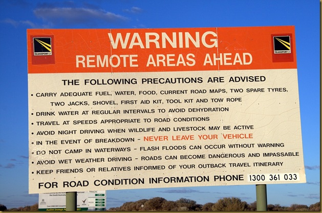Ominous warning sign, Outback South Australia