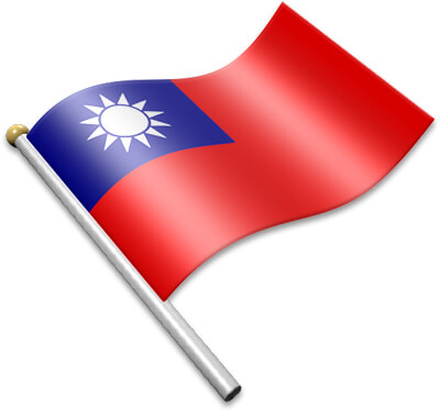 The Taiwanese flag on a flagpole clipart image