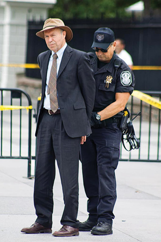 Climate scientist James Hansen being arrested at a White House protest in 2011. 'We have to move to clean energy,' he says. 'If we burn all the fossil fuels, then we will melt all the ice on the planet, and that would raise the seas by about 250 feet.' Photo: Ben Powless