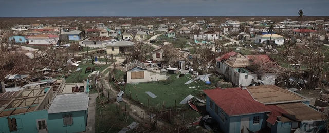 Screenshot from The New York Times documentary, 'No Man's Land: Barbuda After Irma', showing an aerial view of the widespread destruction of Barbuda after Hurricane Irma. Photo: The New York Times