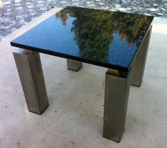 couchtisch beistelltisch mit platte naturstein dunkel gestell edelstahl matt ebay. Black Bedroom Furniture Sets. Home Design Ideas