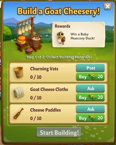 farmville 2 goat cheesery building requirement