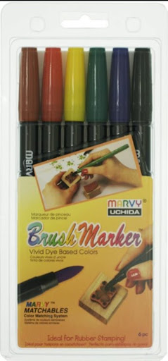 MARVY - #1500-6A PRIMARY 6色 BRUSH咀彩繪筆套裝 (原色系)