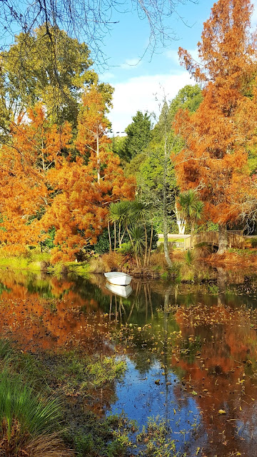 Autumnal pond at Agricultural Heritage Museum, Mystery Creek (NZ)