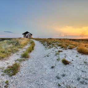 Steele Shelter by Jim Talbert - Landscapes Sunsets & Sunrises ( leading lines, sky, shelter, hdr, sunset, kansas )