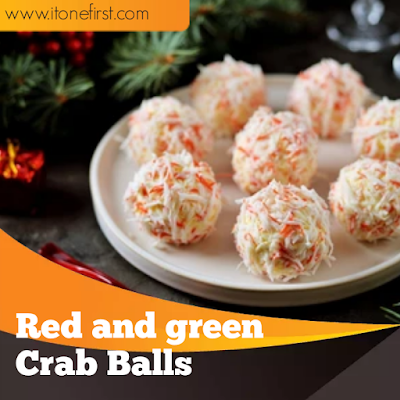 Red and green crab balls easy recipe