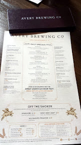 Avery Brewing menu for September 22-27